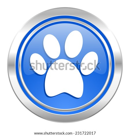 foot icon, blue button  - stock photo