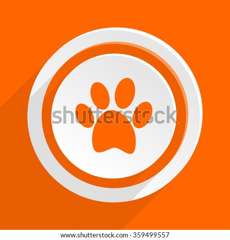 foot orange flat design modern icon for web and mobile app - stock photo