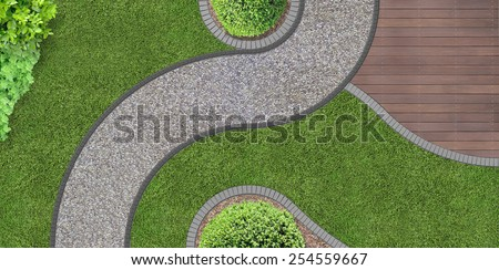 foot path through the garden in aerial view - stock photo