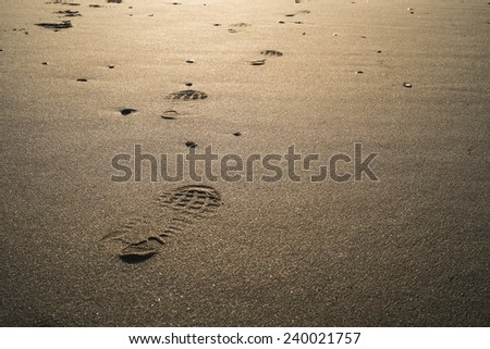 foot prints along the beach during the morning sunshine  - stock photo