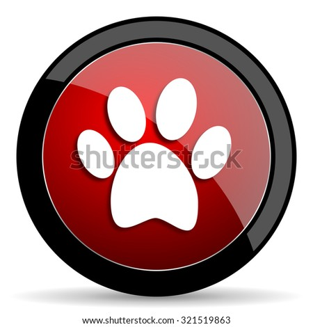 foot red circle glossy web icon on white background, round button for internet and mobile app - stock photo