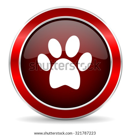 foot red circle glossy web icon, round button with metallic border - stock photo