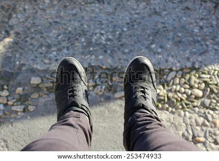Foot selfie photo - stock photo