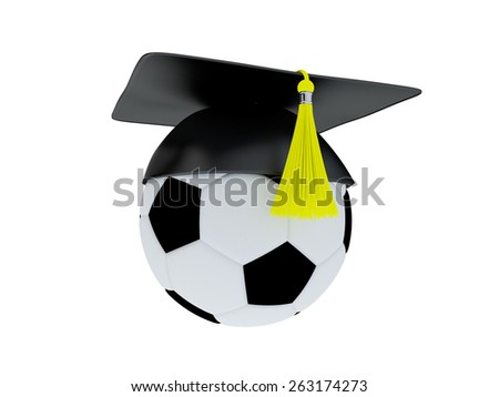 Football Academy Concept. 3D Illustration of Ball With Graduation Cap isolated on white. - stock photo