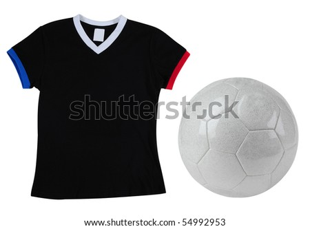 football and french t-shirt. Isolated. - stock photo