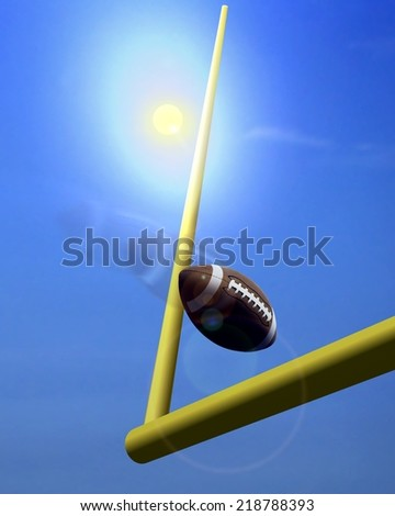 Football and Goal Post under  Sunlight - stock photo