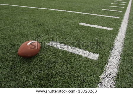 Football and the sideline - stock photo