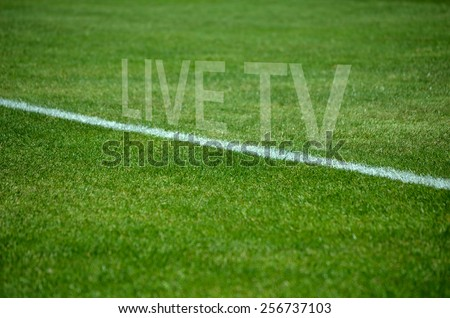 Football background Text live tv on green grass with white lane - stock photo