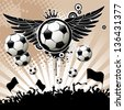 Football background with balls, wings and stars.  - stock photo