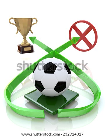 football ball and two goals  - stock photo