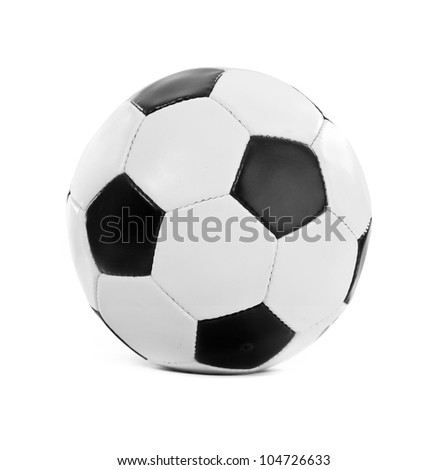 Football ball made of genuine leather isolated on a white background. Soccer ball - stock photo