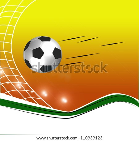 Football ball on the grass on the stadium with lights - stock photo