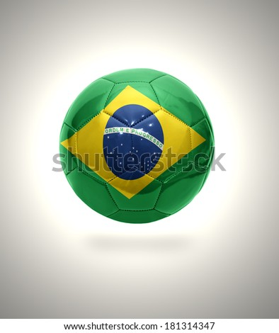 Football ball with the national flag of Brazil on a gray background - stock photo