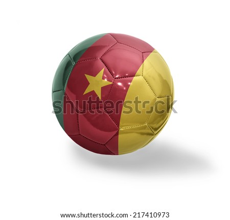 Football ball with the national flag of Cameroon on a white background - stock photo