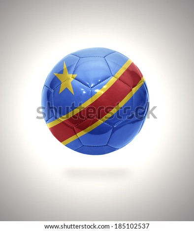 Football ball with the national flag of Democratic Republic of the Congo on a gray background - stock photo