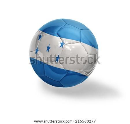 Football ball with the national flag of Honduras on a white background - stock photo