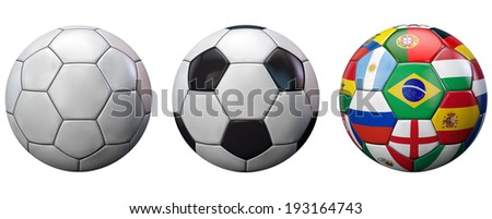 Football balls set isolated on white. - stock photo