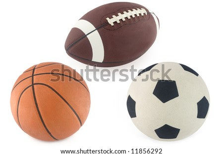 Football, basketball and rugby ball  isolated on white background - stock photo