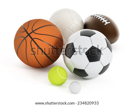Football, basketball, soccer ball, volleyball, tennis ball and golf ball isolated on white - stock photo