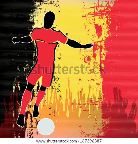 Football Belgium, Soccer player over a grunged Belgian Flag and cheering crowd - stock photo