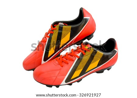 Football boots red. Soccer boots. on white background - stock photo