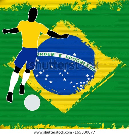 Football Brazil, Soccer player over a grunged Brazilian Flag - stock photo