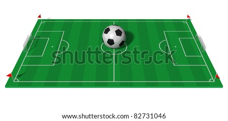 Football championship concept: football field with big soccer ball isolated on white background - stock photo