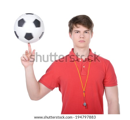 Football coach. Football coach with the ball and whistle isolated on white background - stock photo