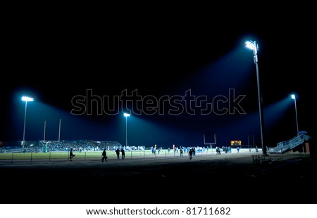 football competition at night in stadium - stock photo