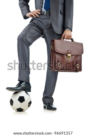 Football concept with businessman on white - stock photo