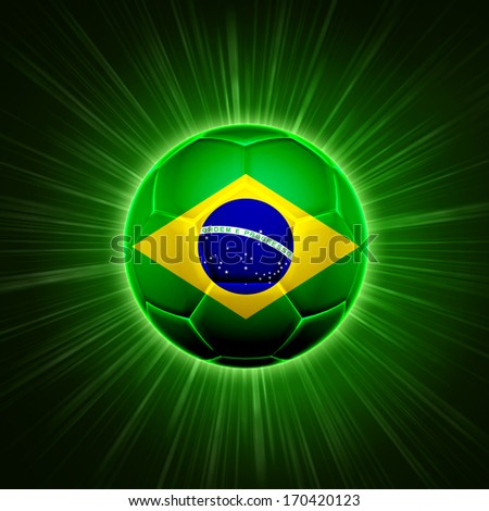 football - 3d shining soccer ball with Brazilian flag with lights and rays over green background - stock photo