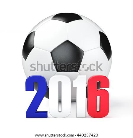 Football euro championship 2016 in France.3d illustration. - stock photo