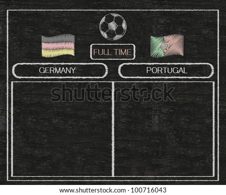 football euro 2012 scoreboard germany and portugal with nations flag written on blackboard background high resolution, easy to use - stock photo