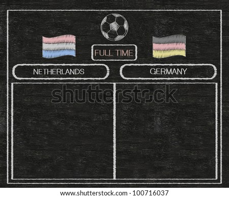 football euro 2012 scoreboard netherlands and germany with nations flag written on blackboard background high resolution, easy to use - stock photo
