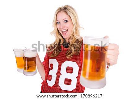 Football Fan: Ready For Game WIth Beer Mugs - stock photo