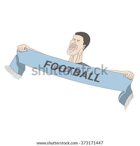 Football fan shouting with a scarf in his hands  - stock photo