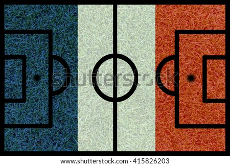 Football field textured by France national flags on euro 2016 - stock photo