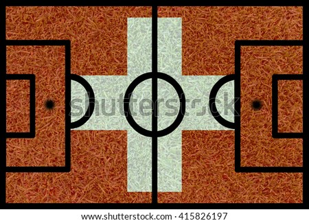 Football field textured by Switzerland national flags on euro 2016 - stock photo