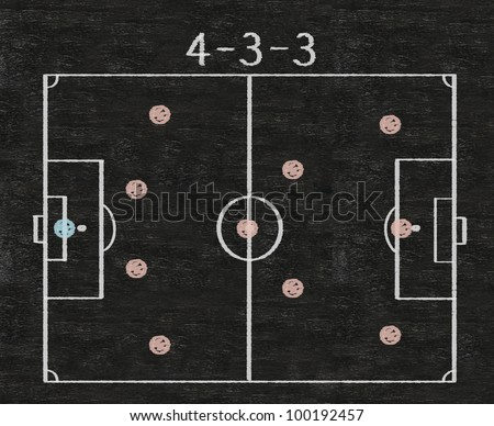 football field with formation strategy sketch written on blackboard background high resolution - stock photo