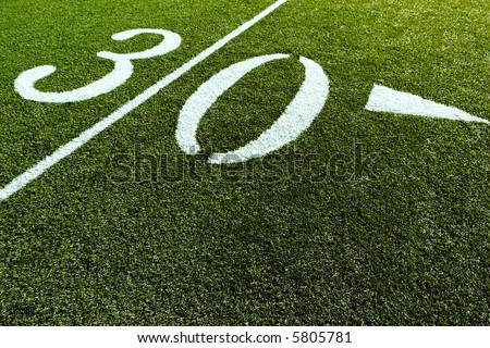 Football Field with 30-Yard Mark - stock photo
