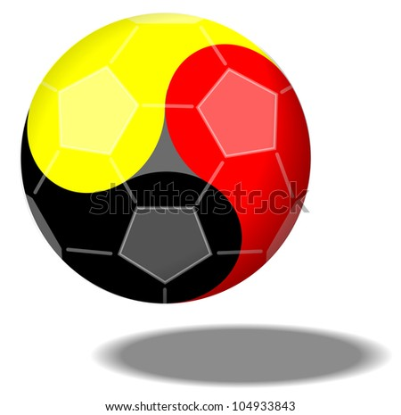 Football forming Yin & Yang in German Colors - stock photo