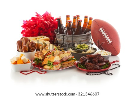 Football: Game Day Food And Stuff Ready For Party - stock photo