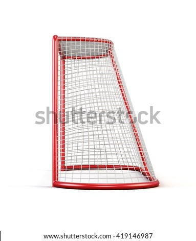 Football goal side view isolated on white background. 3d rendering. - stock photo