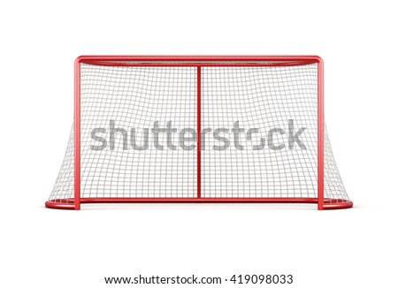 Football goal with net isolated on white background. Front view.3d rendering. - stock photo