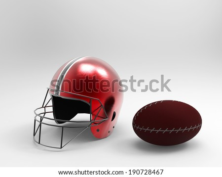 football helmet and Rugby ball for sport equipment. - stock photo