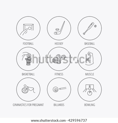 Football, ice hockey and fitness sport icons. Basketball, muscle and bowling linear signs. Billiards and gymnastics for pregnant icons. Linear colored in circle edge icons. - stock photo