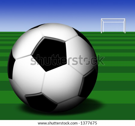 Football on the playground with a goal - stock photo