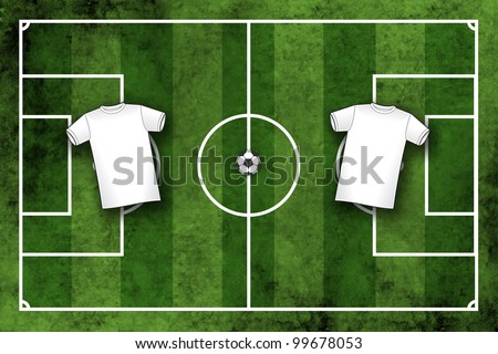 Football pitch or soccer field with blank white sport shirts which for your design of club or national team colors, top view - stock photo