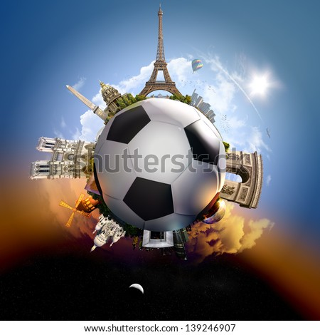 Football planet of Paris - symbolic illustration of Paris, France, built on a soccer football, with all important buildings and attractions of the city - stock photo