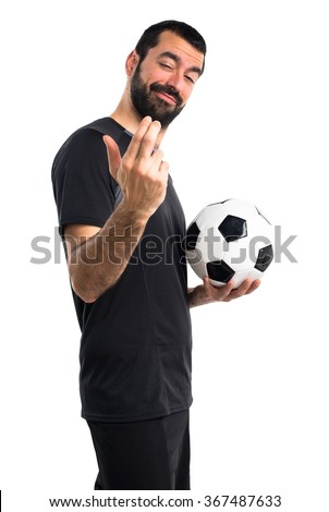 Football player coming gesture - stock photo
